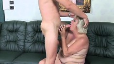 Chubby granny with a hairy puss gets a surprise dick to suck and fuck her