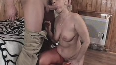 Bootilylicious blonde granny makes her young lover work for it