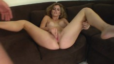 Cute blonde uses her mouth to lube up her man before riding him