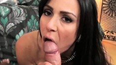 Voluptuous cougar Kendra Lust drops to her knees and blows a fat cock