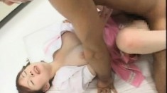 Kinky Japanese schoolgirl fingers her twat and swallows a huge cumload