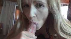Naughty blonde Emy makes herself wet before taking in a huge cock