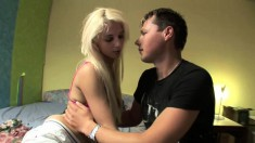 Long-haired blonde cutie hooks up with a young dude packing a big one