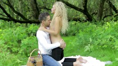 Their picnic turns into a fuck fest outside with this hot blonde honey