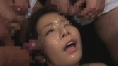 Asian cuties welcome huge loads of warm semen on their pretty faces