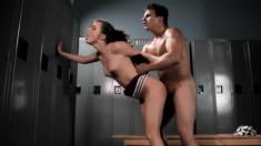 Slutty brunette cheerleader Lily Carter gets fucked in the locker room