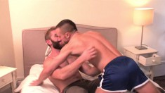 Horny Tony Axel and Geoffrey Paine are eager to screw on the bed