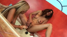 Paola Rey and her lesbian lover do some exotic toy play in their twats