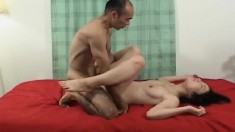 Asian girl gets hammered and toys herself and he dumps a load on her