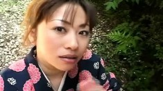 Mirai Hirooka doesn't get undressed while giving him head outside in POV