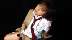 Nasty Japanese teen reveals her blowjob skills and gets a huge facial