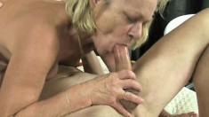 Mature lady gets her bald twat licked, gives him head and then they fuck