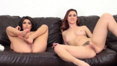 Karlie and Darcie sit side by side as they toy their twats on cam