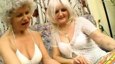 Granny gets it on with a younger lesbian eating pussy and toying ass