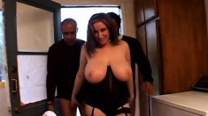 Huge breasted brunette milf in lingerie has fun with two black studs