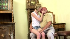 Ravishing young girls getting drilled deep and hard by horny old men
