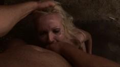 Beautiful bondage fetishist Angela deepthroats and fucks a large dick