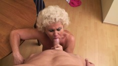 Nasty blonde granny with big boobs blows and fucks a long dick in POV