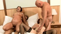 Short-haired mature gals can't get enough of a naughty foursome