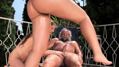 Kinky Old Guy Albert Has Two Sultry Babes Sharing His Big Dick Outside