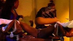 Four insatiable ebony girls enjoy an intense lesbian orgy behind bars