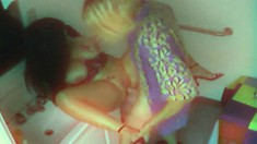 Security Cam Catches A Brunette Getting Dicked By A Blonde Dude