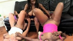 Three curvaceous dark skinned babes exploring their lesbian fantasies