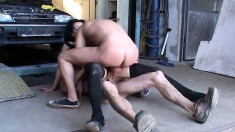 Two horny mechanics drilling a sexy slender milf's tight holes at once