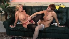 Two mature lesbians uses toys and then fuck with a double sided dildo