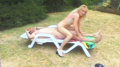 Slutty blonde mommy with big boobs Dallas fucks a cock in the outdoors