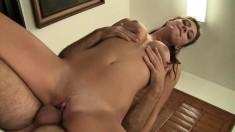 Irresistible girl in black stockings Rilynn feeds her hunger for cock