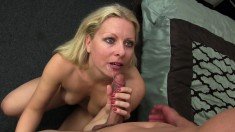 Lustful blonde milf with big boobs and a splendid ass loves young meat