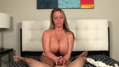 Huge breasted blonde mommy makes a dick erupt with her hands POV style