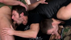 Three sexy guys want to have an intense dick-sucking threesome