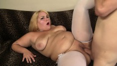 Blonde plumper eats his meat and gets it in her big shaved pussy