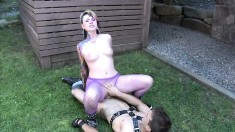 Busty MILF in purple fishnets blows and gets humped outside, then swallows