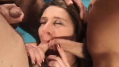 Wild girls Aurora Snow and Cheryll take on a gang of throbbing dicks