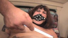 Submissive brunette nympho Cindi gets collared, clamped and shocked