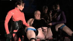 Old Dude At The Kit Kat Club Gets His Nuts Tied Up And Ass Toyed