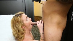 Gorgeous blonde can't get enough of a hard shaft hammering her pussy