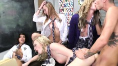 Naughty schoolgirls explore their lesbian urges and share a hard dick
