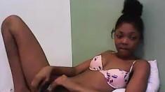 Ebony Toying Her Wet Pussy