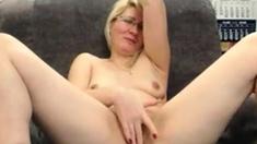 Mature blonde masturbates and has fun