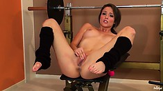 The Slender Dame With Long Hair Stretches Her Delicious Snatch