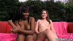 Big butt gals Pleasure and Roxi get this dude off and then rest together
