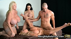 He doesn't mind that Echo Valley invited two busty friends over for group action