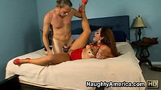 Miss Raquel spares her fuckmate from his pants and attacks his cock