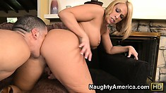 Short haired blonde bitch with great curves gets jammed hard