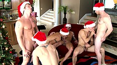 Gay Christmas orgy at the hunk house and all the cocks are invited