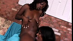 Sexy black lesbian pornstars rehearse in the back room on tongue and dildo work
